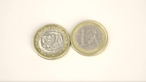 Two 1 Greece Euro coins on the table Footage