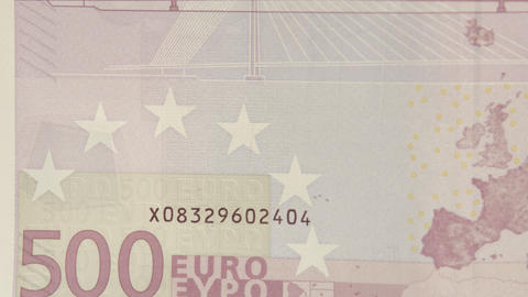 The lower left detail of the 500 Euro bill Live Action