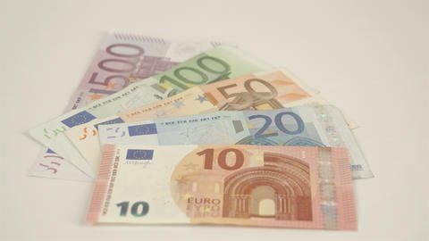 Five Euro bills totalling to 680 Euro bill Live Action