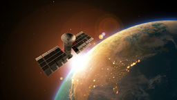 Satellite Above The Earth And Orbiting The Planet stock footage
