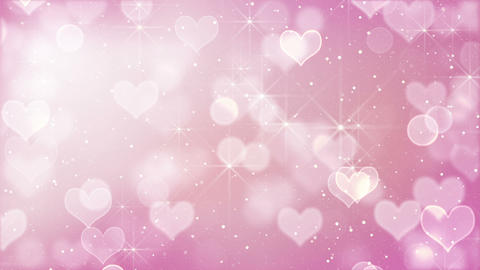 pink heart bokeh lights and stars loopable Animation