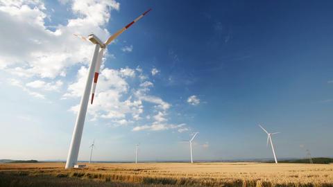 Slow Wind Turbines Timelapse stock footage