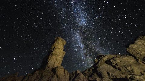 4k UHD Time Lapse Monolith Milky Way Fisheye 11584 stock footage