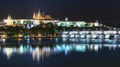 4k UHD prague castle charles bridge night 11585 Footage