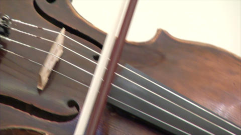 Big violin with the bow and strings Stock Video Footage