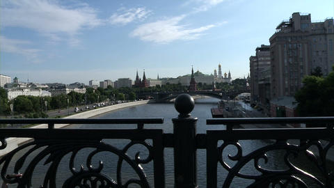 Moscow Kremlin and river (shot through the railing Footage