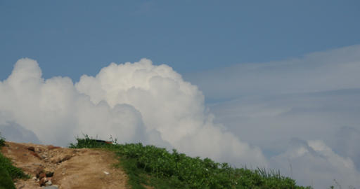 4k Panoramic of village mountains,Altocumulus cloud in blue sky Footage