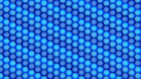 3D Looping Background - Blue hexagon ball grid Animation