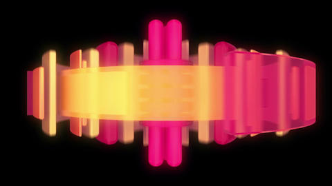 Abstract audio visualizer rings and light beams Animation