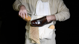 Polishing shoes Footage