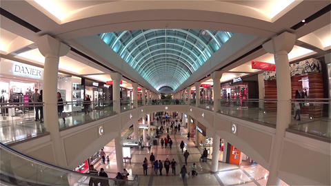 One side of shopping mall with wide angle camera s Footage