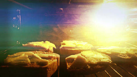 4 K Sandwiches With Cheese In Oven 1 stock footage