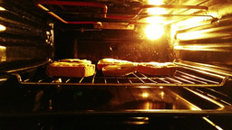 4 K Sandwiches with Cheese in Oven 3 Footage