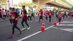 Runners Participating In The Osaka Marathon stock footage