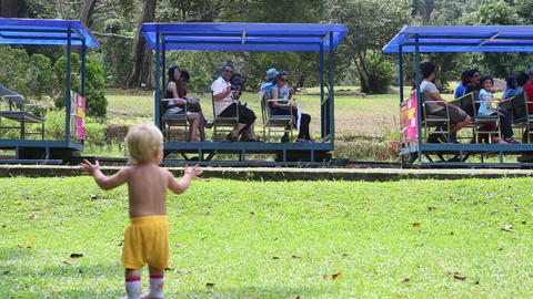small blonde baby girl in the park Footage