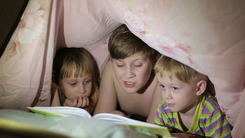 Boy reading a book to his brother and sister Footage