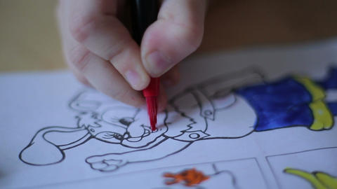 Little Girl Drawing With Markers stock footage