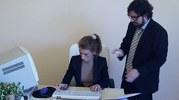 OW 2E Employee Coworker Funny Harassment 1 stock footage