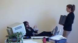 OW 2E Employee lazy coffee break Footage