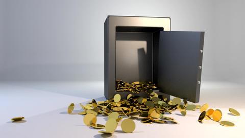 Safe vault fall spill gold coins falling spilling Animation