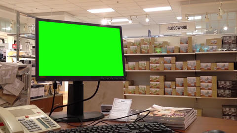 Green billboard for your ad at computer screen ins Footage