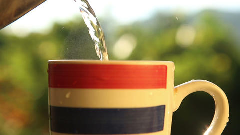 Boiled Water Poured Into The Cup stock footage