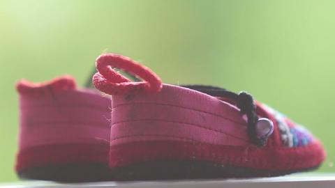 children's sandals changes focus Footage