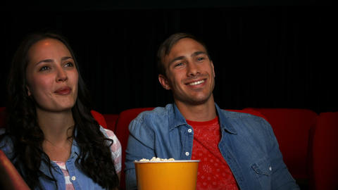 Couple Watching Movie In Cinema stock footage