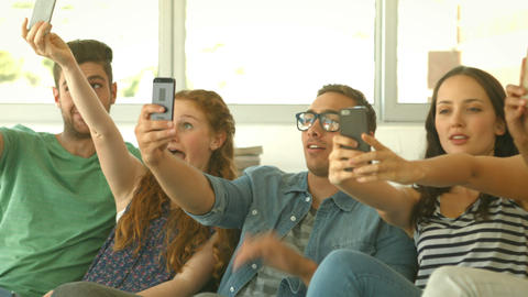Students Taking A Selfie Together stock footage