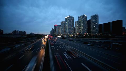 Skyscrapers in Beijing. Timelapse Stock Video Footage