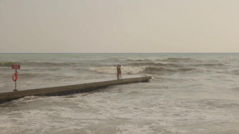 Young Romantic Pair on the Pier Stock Video Footage