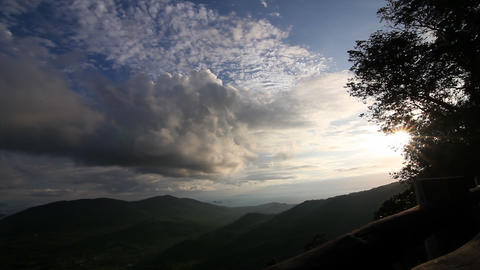 Sunset at valley time lapse Footage