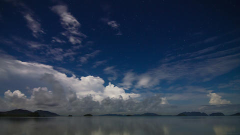 Night sea sky time lapse Footage