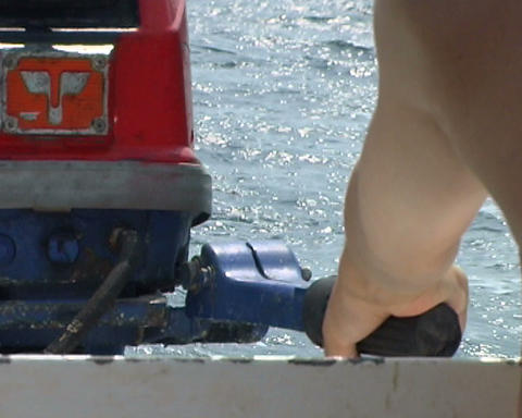 boat hand motor Stock Video Footage