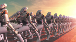 Robot Marching Stock Video Footage