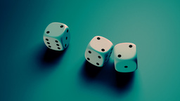 dice with blue background Stock Video Footage