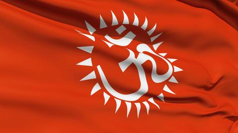 Flag With Hindu Aum Stock Video Footage