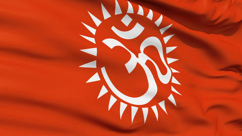Flag With Hindu Aum Stock Video Footage