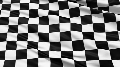 Fluttering Black And White Chequered Flag Animation