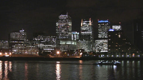 London Canary Wharf and River Thames Stock Video Footage