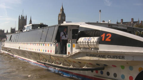 Westminster and Themes Clipper Stock Video Footage