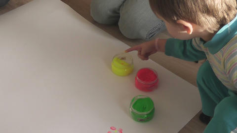children painting 03 Stock Video Footage