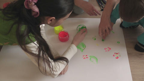 children painting 05 Stock Video Footage