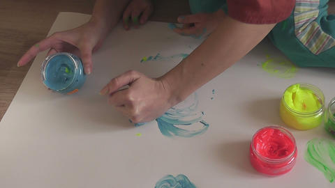 children painting 07 Stock Video Footage