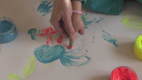 children painting 09 Stock Video Footage