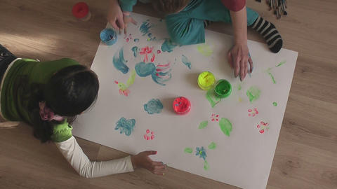 children painting 11 Stock Video Footage