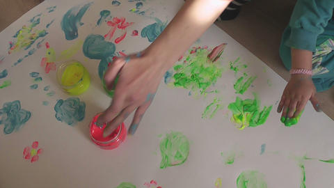 children painting 12a Stock Video Footage