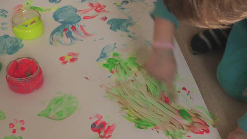 children painting 14 Stock Video Footage