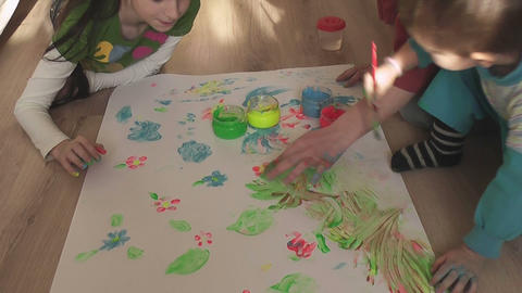 children painting 18 Stock Video Footage