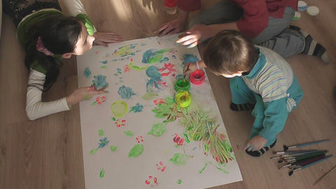 children painting 20 Stock Video Footage